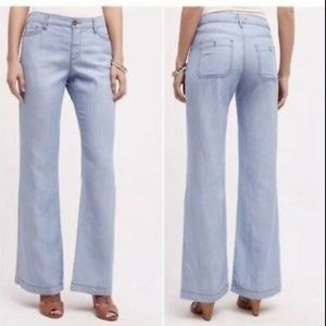 Anthropologie Pilcro Chambray Wide Leg Pants Sz 29